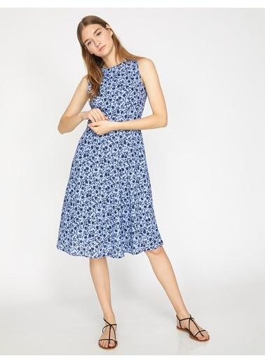 Koton Desenli Kolsuz Elbise Lacivert